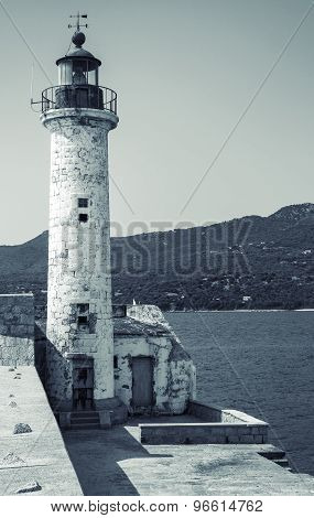 White Lighthouse Tower. Entrance To Propriano