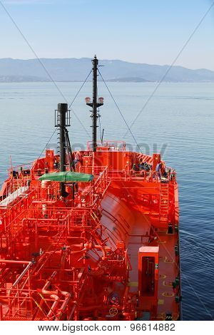 Red Liquefied Petroleum Gas Tanker Underway