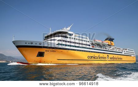 The Mega Express Ferry Goes On The Sea