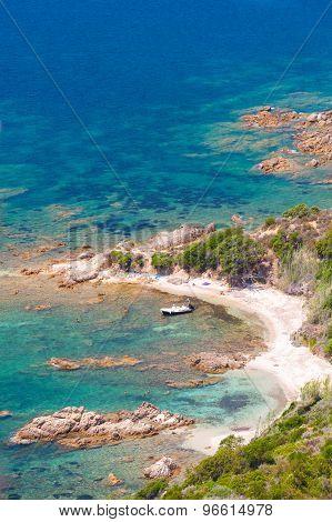 Corsica, Cupabia Gulf. Vertical Coastal Landscape