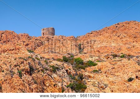 Old Genoese Tower On Capo Rosso, Corsica