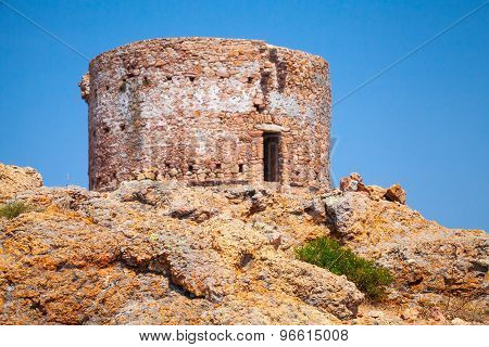 Old Tower On Capo Rosso Cliff, Corsica Island