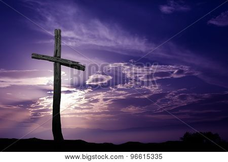 Silhouette Of Old Woodencross At Sunrise