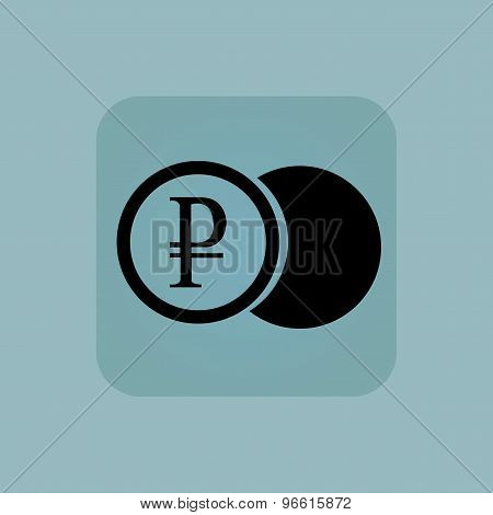 Pale blue ruble coin icon