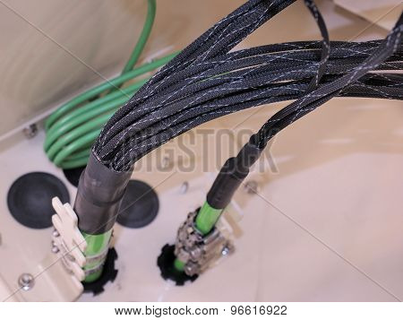 Fiber Optic cables with strain relief and fiber routing