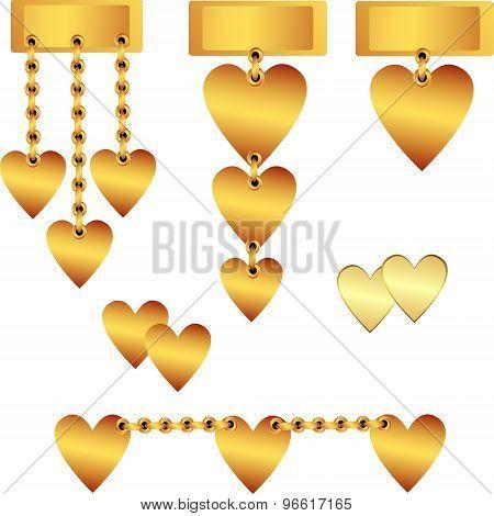 Decorative Gold Hearts