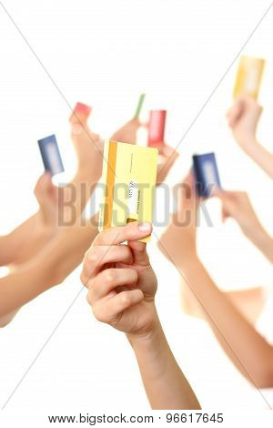 Hands Holding Credit Card