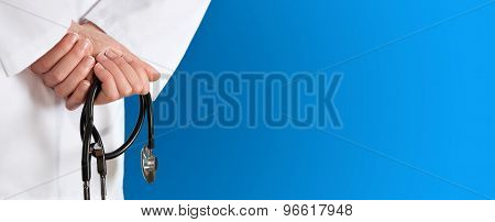 Medical blue background with stethoscope