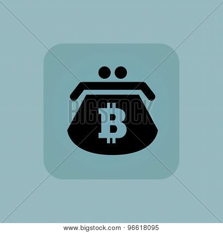 Pale blue bitcoin purse icon