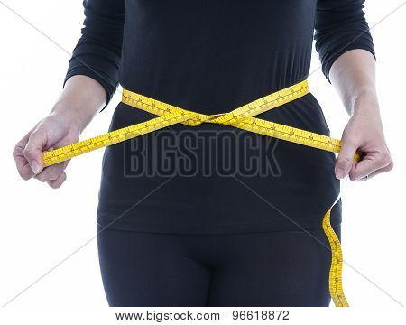 Woman Wears Black Body Clothes With Yellow Measuring Tape, Healthcare Weight Loss Concept.
