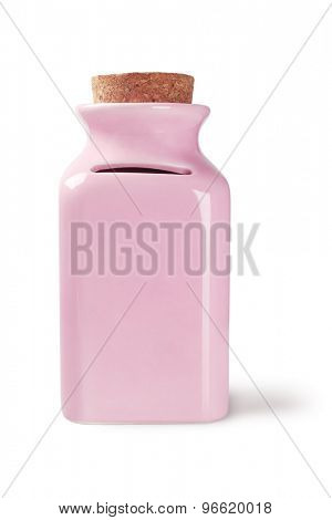 Ceramic Money Jar on White Background