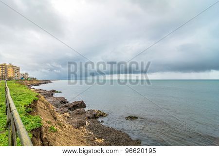 Coastline And Mediterranean Sea In Marsala, Italy