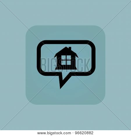 Pale blue house message icon
