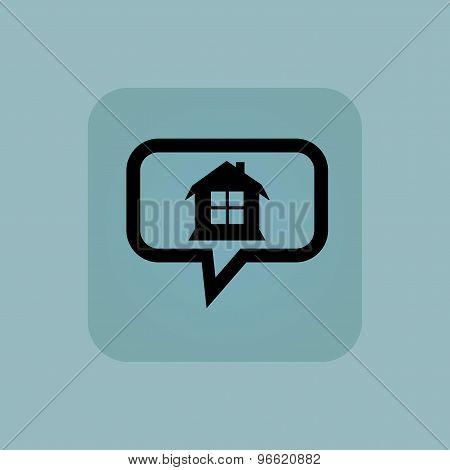 Pale blue house message icon