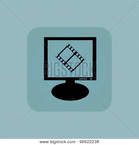 Pale blue movie monitor icon