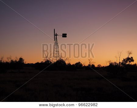 Windmill in Sunset part of a water well