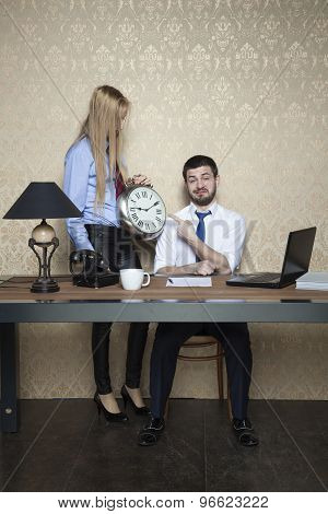 Businessman Pointing At The Clock