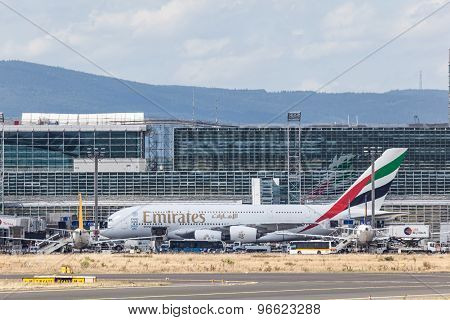 Emirates Airbus A380 In Frankfurt Main