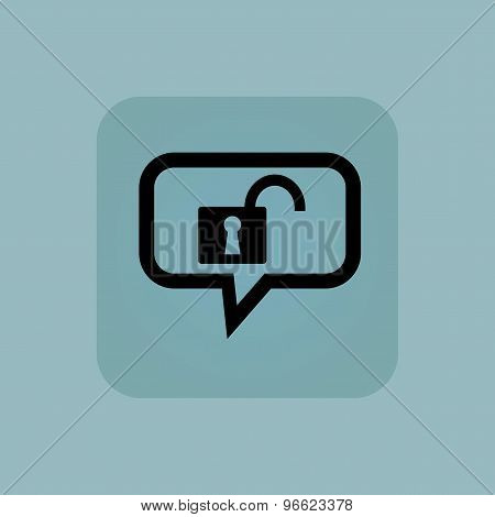 Pale blue unlocked message icon