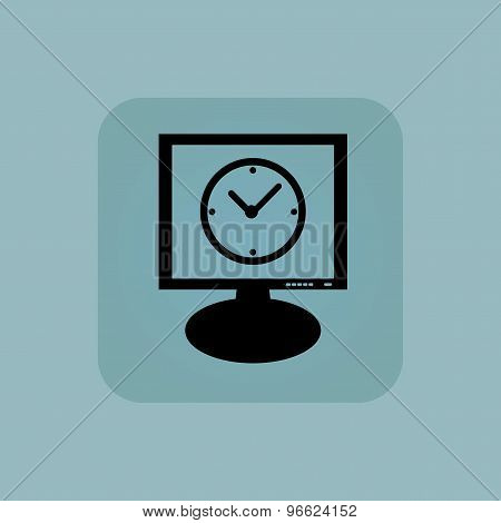 Pale blue clock monitor icon