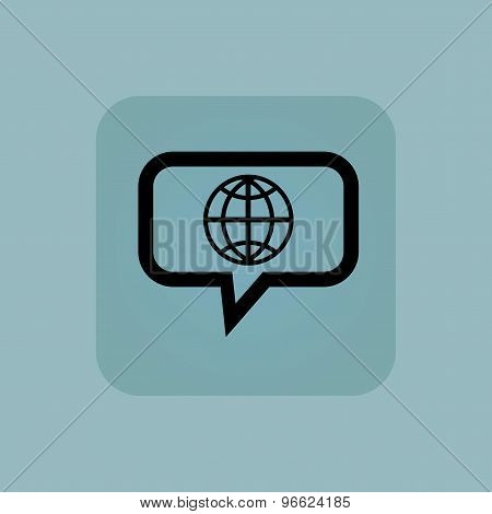 Pale blue globe message icon