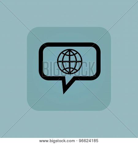 Pale blue globe message icon