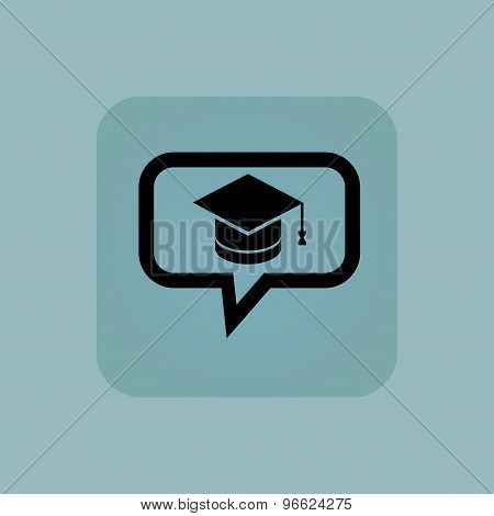 Pale blue graduation message icon