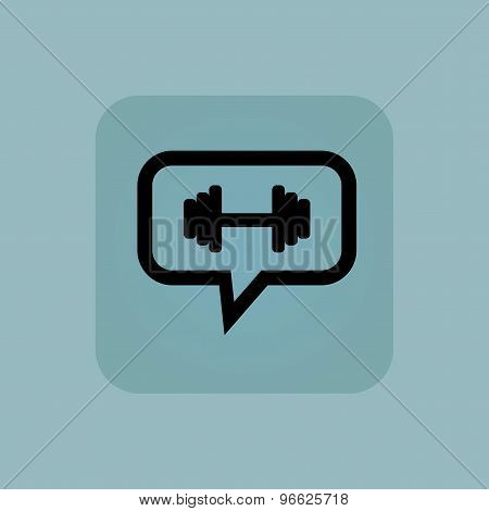Pale blue barbell message icon