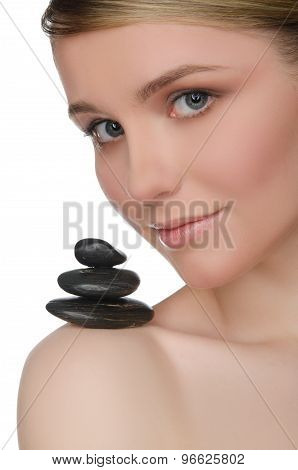 Pile Stones On Shoulder Of Charming Woman