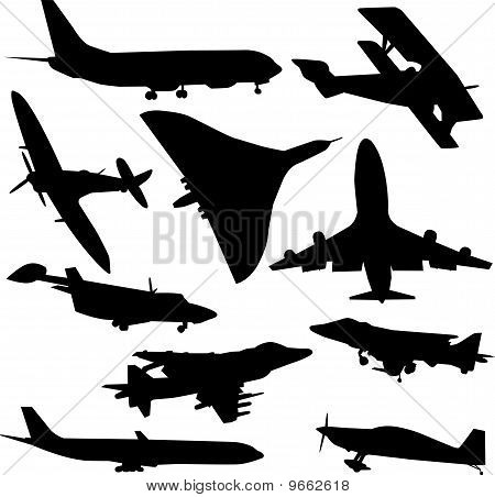 collection of airplanes vector
