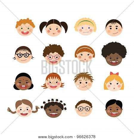 Vector Set Of Children Smiling Faces. Children With Different Skin Color, Boys And Girls.