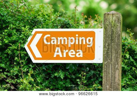 Direction Arrow, Sign To Camping Area In Orange Color