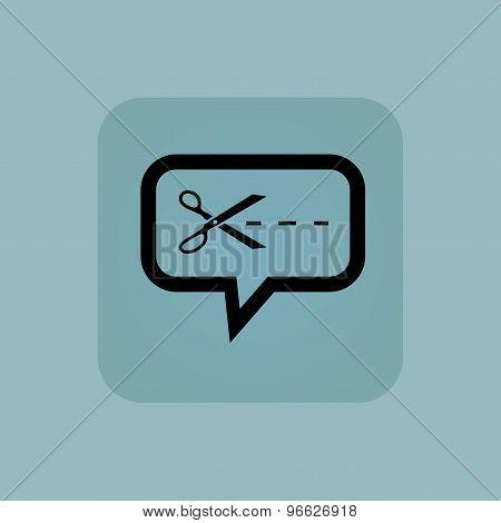 Pale blue cut message icon