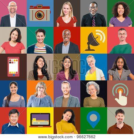 Multiethnic People Colorful Smiling Portrait Technology Concept