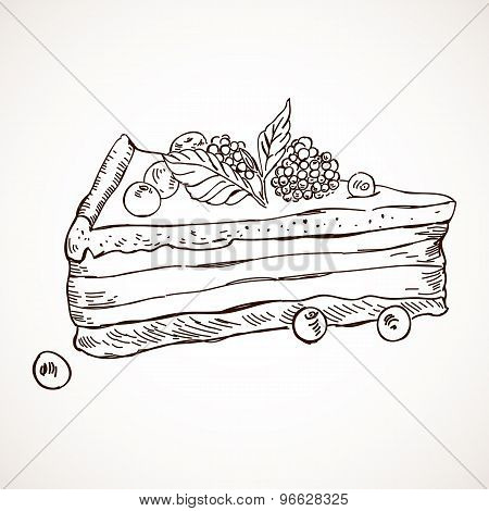 Hand drawn vector sketch sweet cake tart pie chocolate dessert bakery