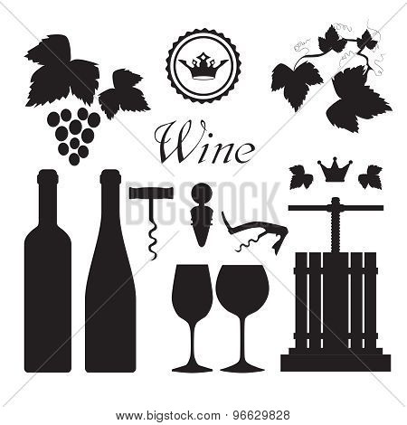 Wine icons collection black