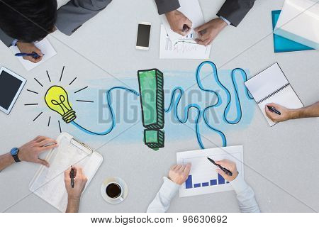 Business meeting against exclamation and light bulb