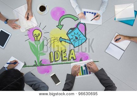 Business meeting against nurturing an idea concept