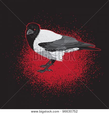 Crow Bird with Red Eyes