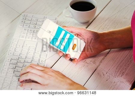 Woman using smartphone at work against online banking