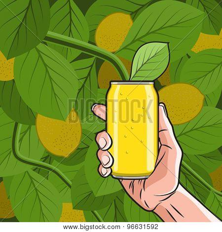 Fresh Lemon Drink Can in Hand on the Lemon Tree background