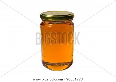 Glass Jar Of Honey With Clipping Path