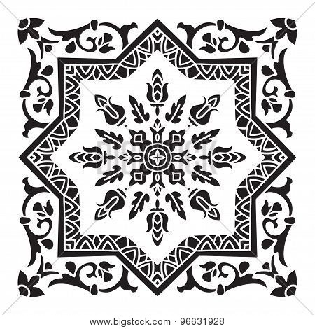 Hand Drawing Decorative Tile Pattern. Italian Majolica Style