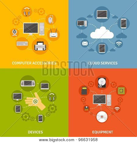 Computer Devices And Service Icon Set