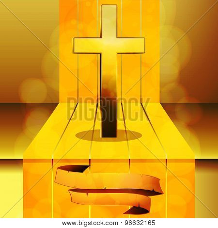 Cross On 3D Step With Banner