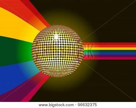 Disco Ball Glowing Over Rainbow Background