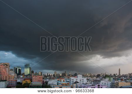 Rain Clouds Over The City, Thailand.