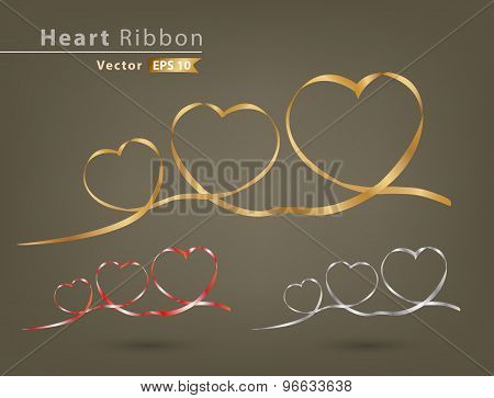 Gold Red And White Heart Ribbon Vector