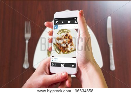 Hand holding smartphone against overhead view of delicious chicken dish with salsa