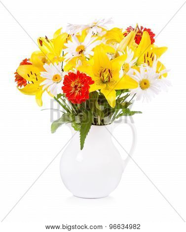 Bouquet Of Various Flowers In A Jar